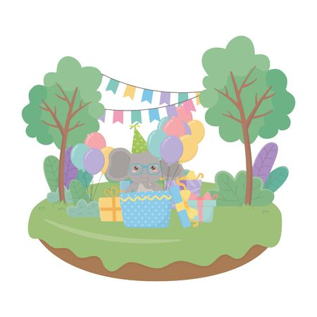 Elephant cartoon design, Animal happy birthday celebration decoration and surprise theme Vector illustration Foto de archivo - 138476729