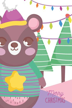 cute bear garland tree happy christmas tags vector illustration