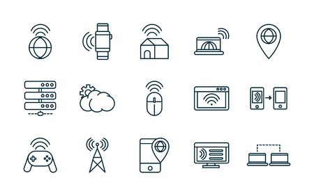 internet of things line icons set vector illustration Stok Fotoğraf - 138476864