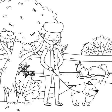 Boy with dog cartoon design, Mascot pet animal nature cute and puppy theme Vector illustration Ilustração