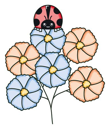 flowers garden with ladybug character vector illustration design Ilustracja