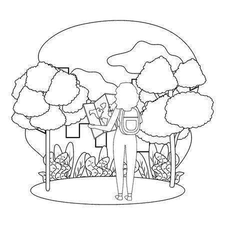 Tourist girl cartoon design, Travel trip vacation tourism and journey theme Vector illustration Foto de archivo - 138476923