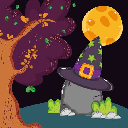 rock with hat forest moon halloween vector illustration