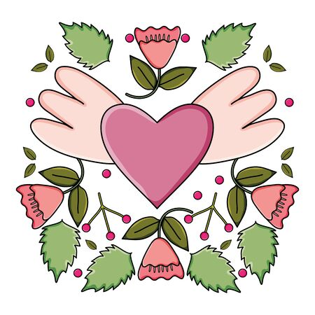 heart love with wings and roses pop art style vector illustration design