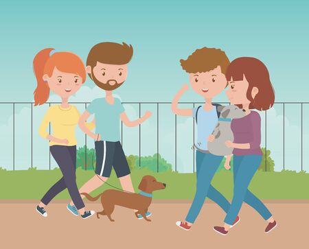 Boys and girls with dogs cartoons design, Mascot pet animal nature cute and puppy theme Vector illustration Illustration