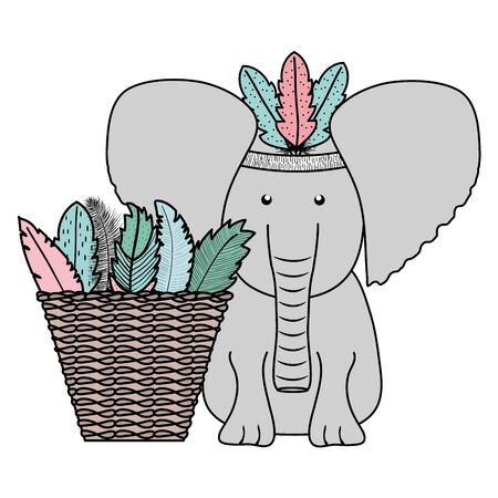 elephant with feathers hat and basket straw bohemian style vector illustration