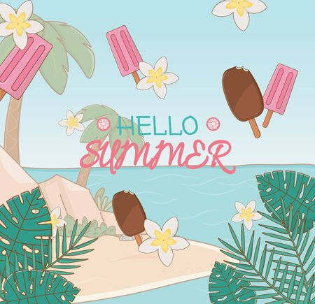 hello summer poster with ice creams and beach scene vector illustration design