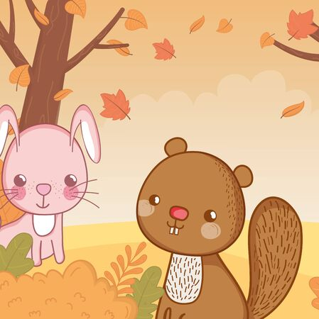 cute rabbit and squirrel foliage hello autumn vector illustration