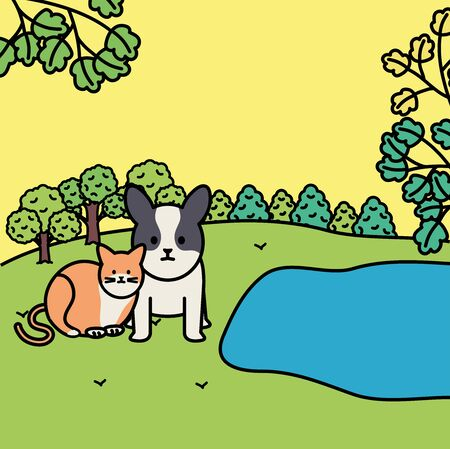cute cat and dog mascots in the landscape characters vector illustration design