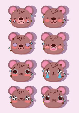 emojis cartoon faces expression bear comic vector illustration