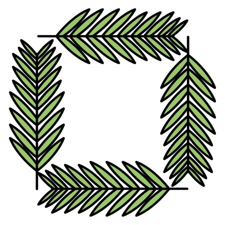 exotic and tropical leafs plants square frame vector illustration design