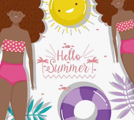 women float and sun exotic hello summer holiday design vector illustration Ilustracja
