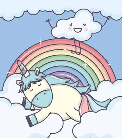 cute adorable unicorn with clouds and rainbow vector illustration design
