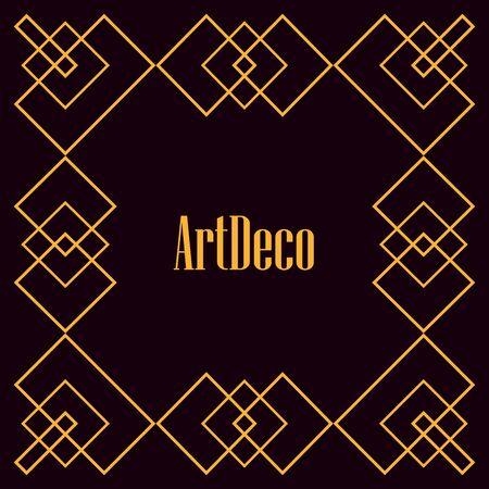 black background art deco frames lines design vector illustration
