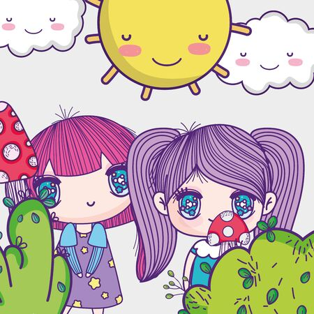 kids, little girls anime cartoon bush nature mushroom sunny day vector illustration