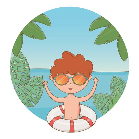happy boy enjoying summer time, vacation leisure and relax outdoor moment cartoon vector illustration graphic design