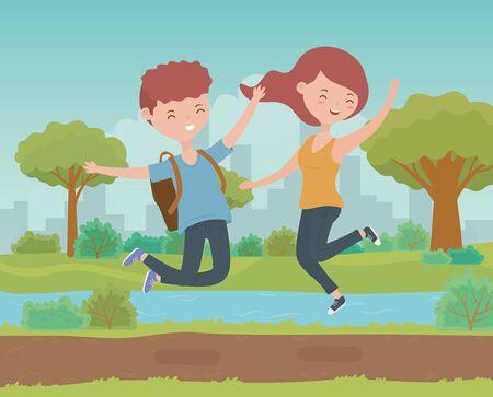 happy couple celebrating in the park scene vector illustration