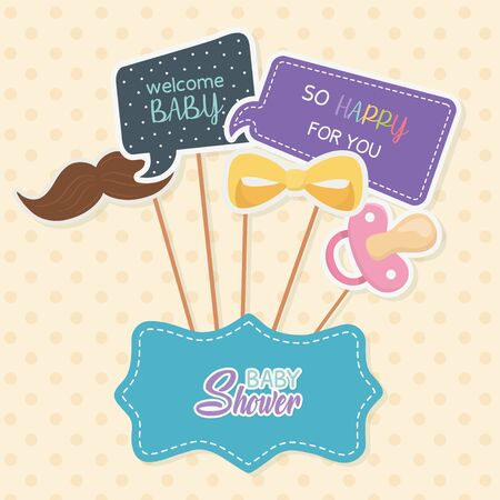baby shower card with accossories and messages in stick vector illustration
