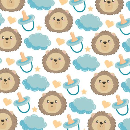 cute lion head with diaper and cloud background to baby shower vector illustration  イラスト・ベクター素材
