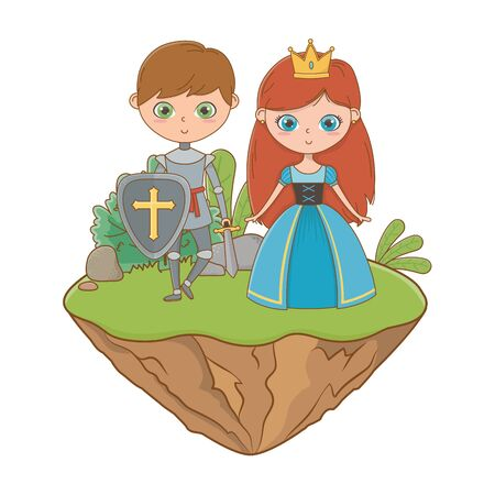 Princess and knight design, Fairytale history medieval fantasy kingdom tale game and story theme Vector illustration