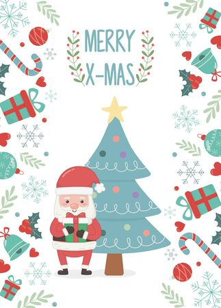 santa claus and tree decoration merry christmas card vector illustration