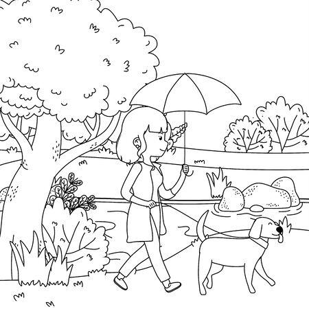 Girl with dog cartoon design
