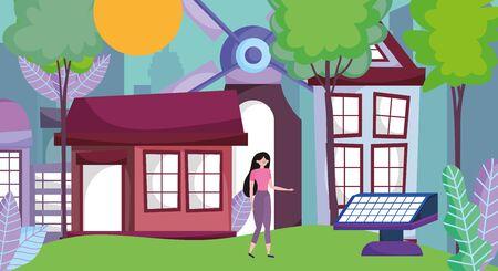 woman energy ecology solar panel wind turbine sun field