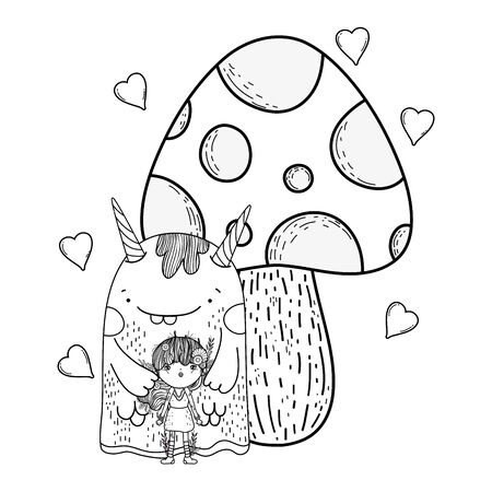 fairy and monster with fungus and hearts