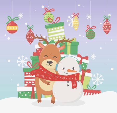snowman and bear with scarf and many gift boxes balls snowflakes celebration merry christmas poster vector illustration