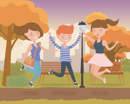 happy friends celebrating in the park scene vector illustration