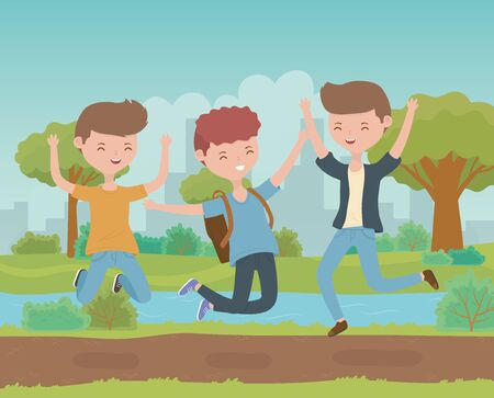 happy young men celebrating in the park scene vector illustration