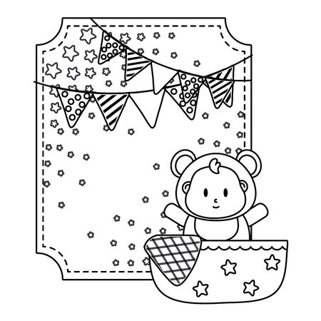 square frame with bear costume in a cradle with blanked and pendants vector illustration graphic design