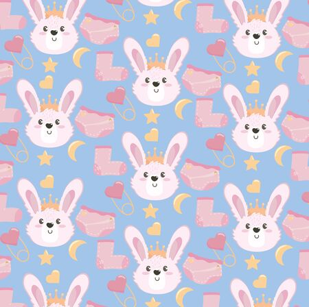 cute rabbit head with sock and diaper background to baby shower vector illustration