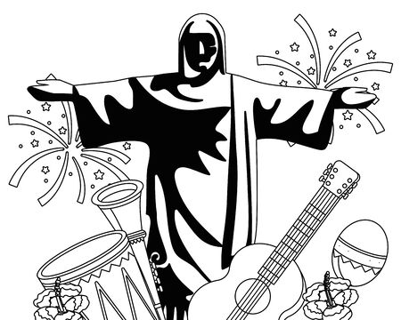 christ redeemer with musical instruments in black and white