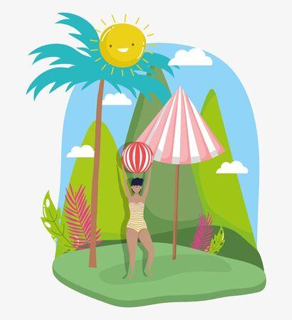 woman hello summer holiday design Ilustrace