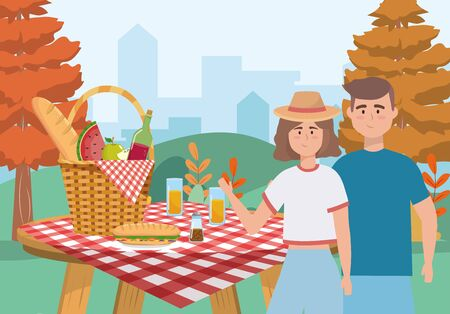 woman and man couple with hamper and food to picnic relaxation, vector illustration Illusztráció