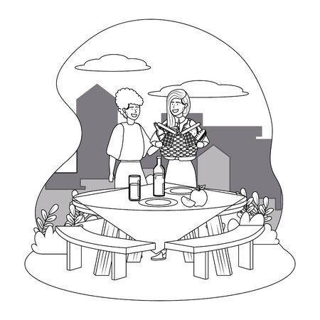 Women friends having picnic design Stock Illustratie