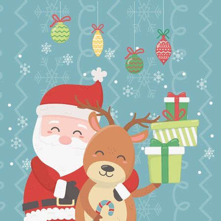santa hugging reindeer pile gifts and hanging balls snowflakes celebration merry christmas poster vector illustration