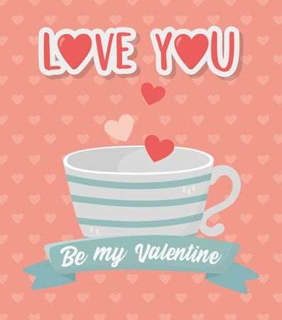 happy valentines day striped coffee cup and hearts love background