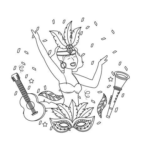 woman celebrating brazil carnival in black and white