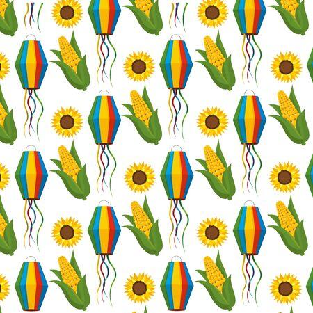 festa junina brazil traditional celebration party elements pattern background cartoon vector illustration graphic design