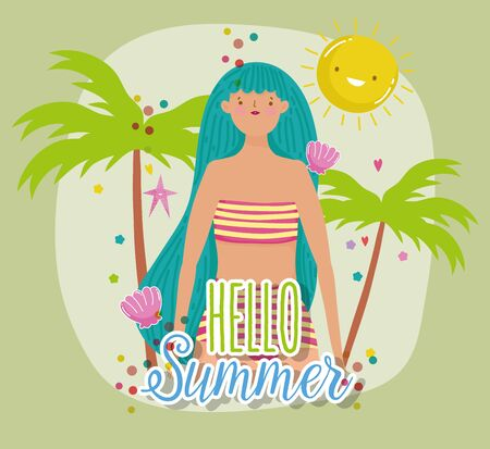woman in swimsuit tropical trees hello summer holiday design vector illustration