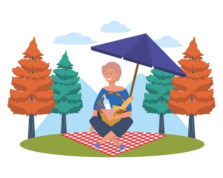 Woman cartoon having picnic design, Food summer outdoor leisure healthy spring lunch and meal theme Vector illustration