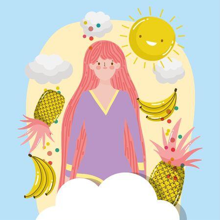 woman tropical banana pineapple sky cartoon hello summer holiday design vector illustration