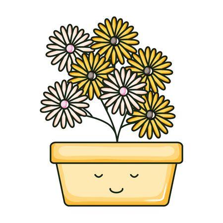 sunflowers in square ceramic pot kawaii character Stok Fotoğraf - 138992355