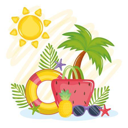 cartel de vacaciones de verano con bolso de mano e iconos