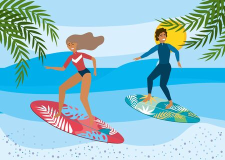 woman and man surfing in the surfboards with leaves plants to summer time vector illustration Ilustracja