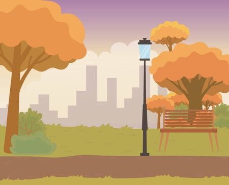 Park design, Landscape nature outdoor beautiful season spring and summer theme Vector illustration