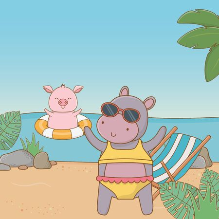 cute animals hippopotamus and pig enjoying summer vacations, relax leisure outdoor cartoon vector illustration graphic design