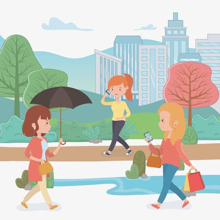 beautiful women walking in the park using smartphones vector illustration design Ilustrace